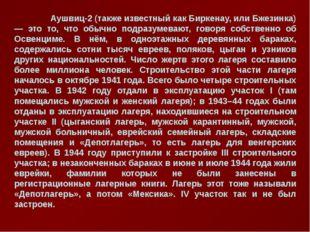 Аушвиц-2 (также известный как Биркенау, или Бжезинка) — это то, что обычно п