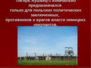 Лагерь Аушвиц-1 изначально предназначался только для польских политических з