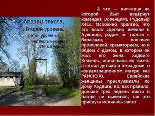 А это — виселица на которой был вздёрнут комендат Освенцима Рудольф Хёсс. Ос