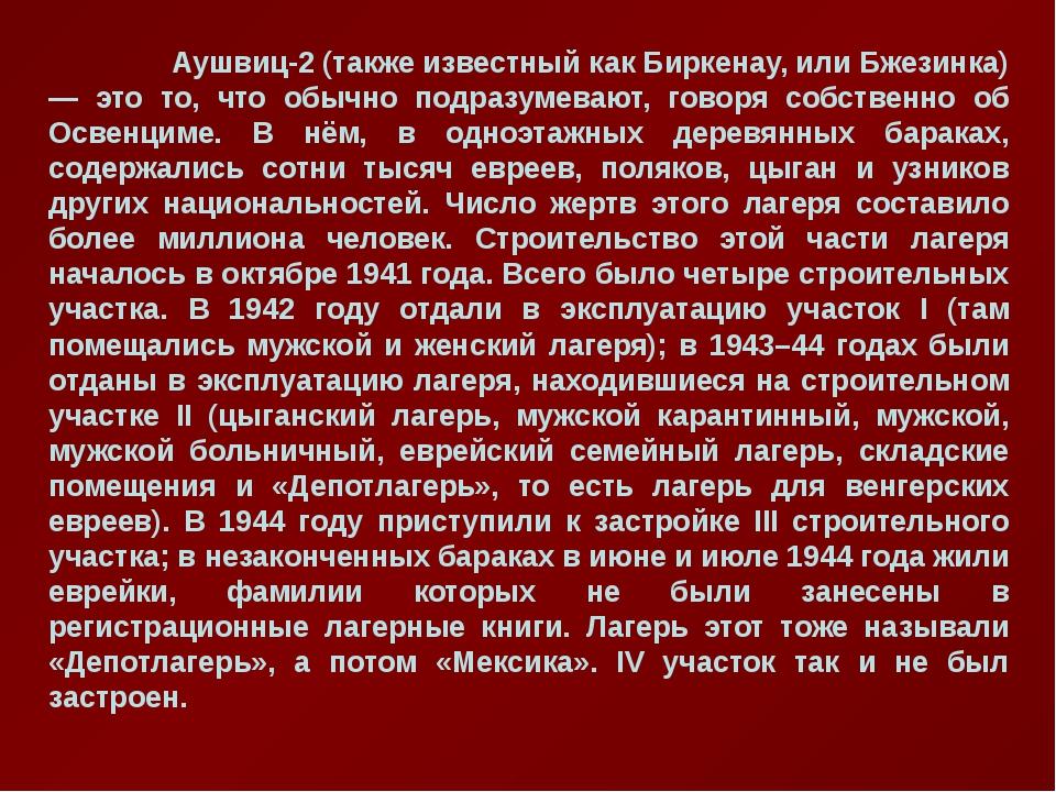Аушвиц-2 (также известный как Биркенау, или Бжезинка) — это то, что обычно п...