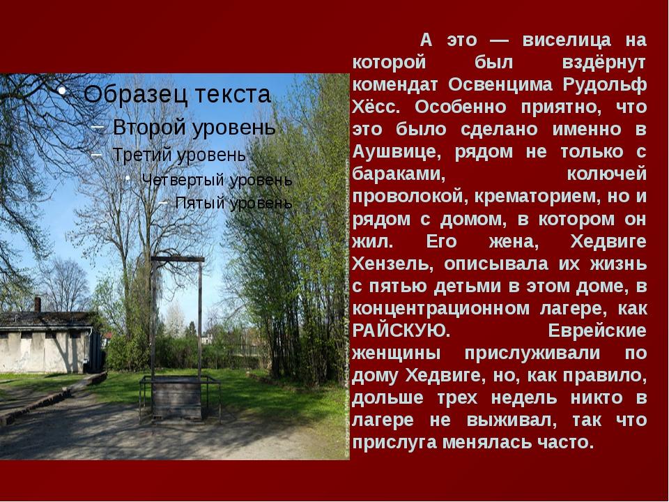 А это — виселица на которой был вздёрнут комендат Освенцима Рудольф Хёсс. Ос...