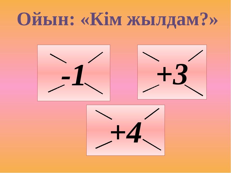Ойын: «Кім жылдам?» -1 +3 +4