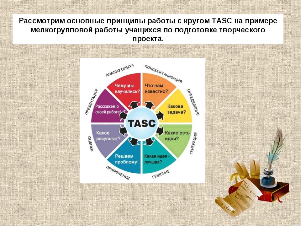 Рассмотрим основные принципы работы с кругом TASC на примере мелкогрупповой р...