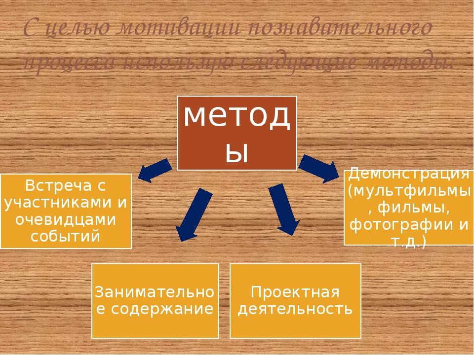 С целью мотивации познавательного процесса использую следующие методы: