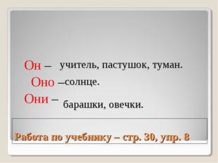 Работа по учебнику – стр. 30, упр. 8 Он – Оно – Они – барашки, овечки. учител