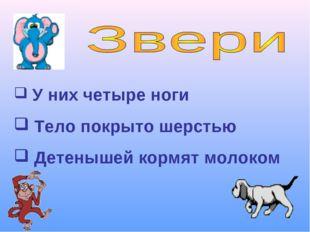 У них четыре ноги Тело покрыто шерстью Детенышей кормят молоком