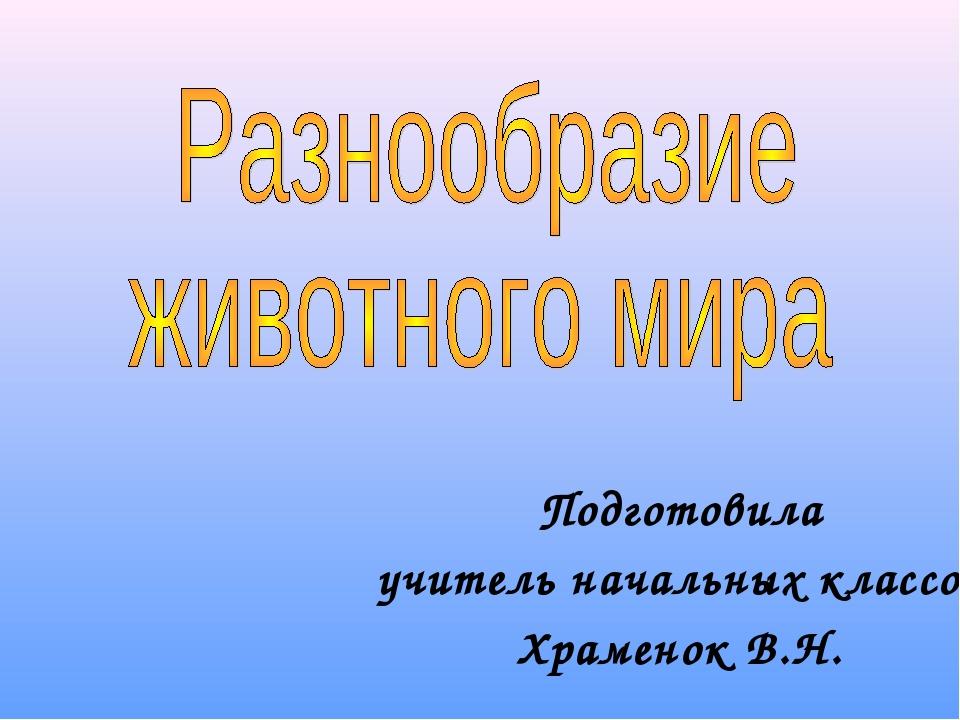 Подготовила учитель начальных классов Храменок В.Н.