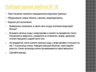 Лабораторная работа № 16 Тема: Изучение строения и передвижения инфузории туф