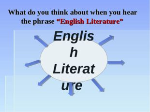 "English Literature What do you think about when you hear the phrase ""English"
