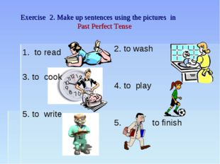 Exercise 2. Make up sentences using the pictures in Past Perfect Tense 1. to