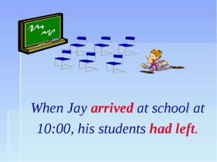 When Jay arrived at school at 10:00, his students had left.