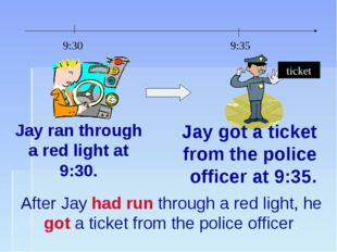 Jay ran through a red light at 9:30. Jay got a ticket from the police officer