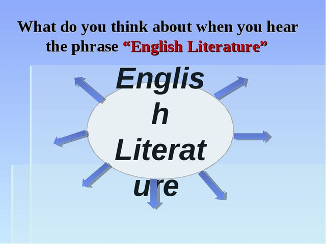 "English Literature What do you think about when you hear the phrase ""English..."