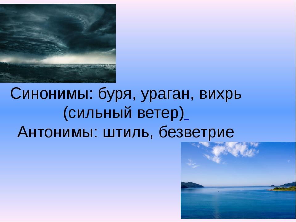 Синонимы: буря, ураган, вихрь (сильный ветер) Антонимы: штиль, безветрие