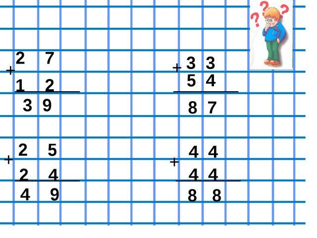 Проверь себя 2 7 + 1 2 3 9 3 3 5 4 + 8 7 2 5 + 2 4 4 9 + 4 4 4 4 8 8