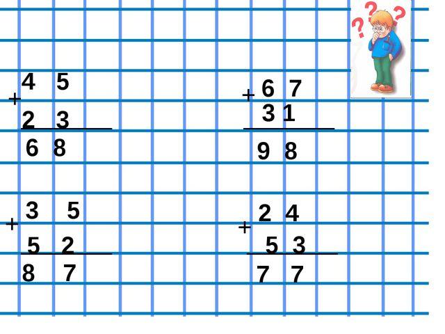 Проверь себя 4 5 + 2 3 6 8 6 7 3 1 + 9 8 3 5 + 5 2 8 7 + 2 4 5 3 7 7
