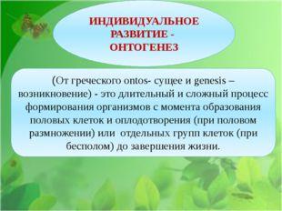 ИНДИВИДУАЛЬНОЕ РАЗВИТИЕ - ОНТОГЕНЕЗ (От греческого ontos- сущее и genesis –