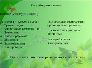 Способы размножения Половое (участвуют 2 особи) Бесполое (участвует 1 особь)