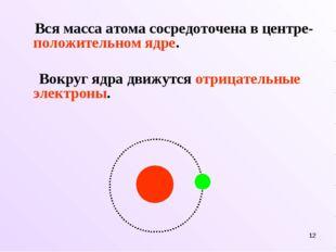 * Вся масса атома сосредоточена в центре- положительном ядре. Вокруг ядра дви