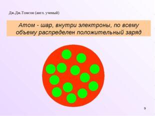 * Дж.Дж.Томсон (англ. ученый) Атом - шар, внутри электроны, по всему объему р