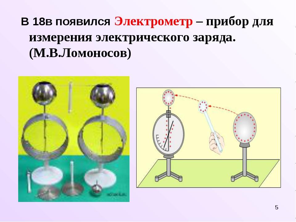 * В 18в появился Электрометр – прибор для измерения электрического заряда. (М...