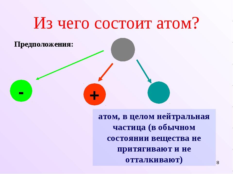 * Из чего состоит атом? - + атом, в целом нейтральная частица (в обычном сост...