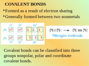 COVALENT BONDS Formed as a result of electron sharing Generally formed betwee