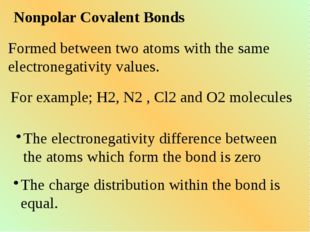 Nonpolar Covalent Bonds Formed between two atoms with the same electronegativ