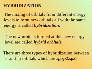 HYBRIDIZATION The mixing of orbitals from different energy levels to form new