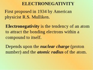 ELECTRONEGATIVITY First proposed in 1934 by American physicist R.S. Mulliken.