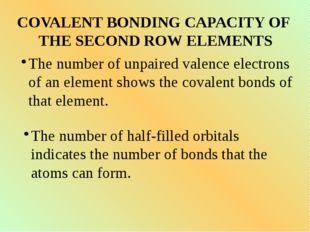 COVALENT BONDING CAPACITY OF THE SECOND ROW ELEMENTS The number of unpaired v