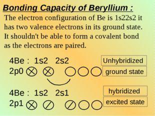Bonding Capacity of Beryllium : The electron configuration of Be is 1s22s2 it