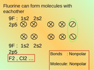 Fluorine can form molecules with eachother Bonds : Nonpolar Molecule: Nonpola