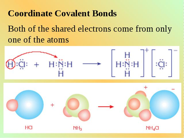 Coordinate Covalent Bonds Both of the shared electrons come from only one of...