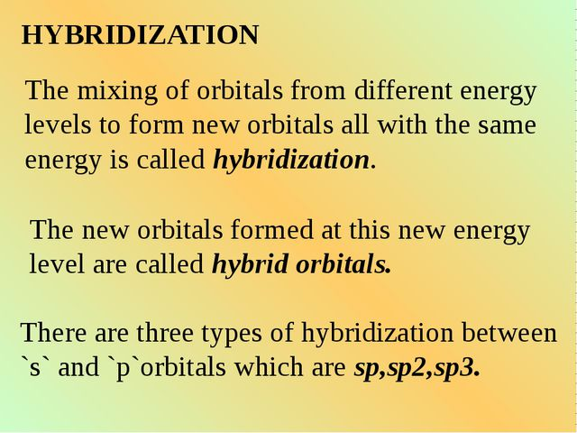 HYBRIDIZATION The mixing of orbitals from different energy levels to form new...