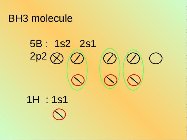 BH3 molecule 5B : 1s2 2s1 2p2 1H : 1s1