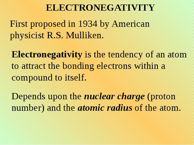 ELECTRONEGATIVITY First proposed in 1934 by American physicist R.S. Mulliken....