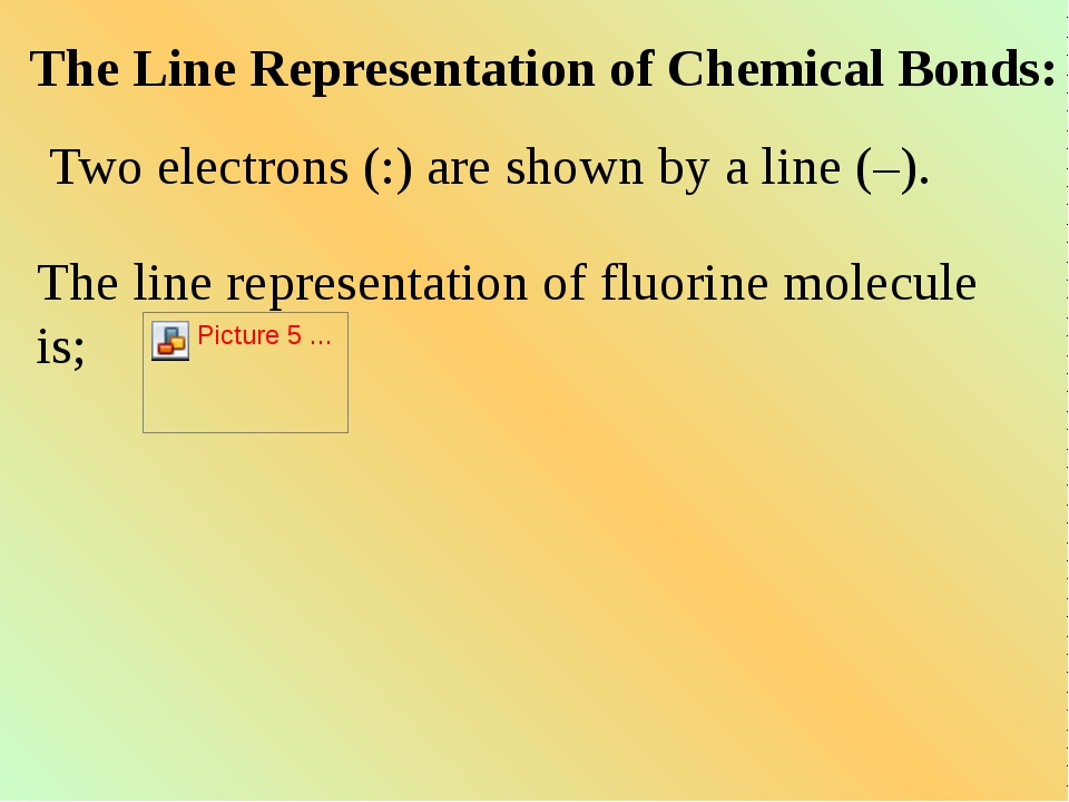 The Line Representation of Chemical Bonds: Two electrons (:) are shown by a l...