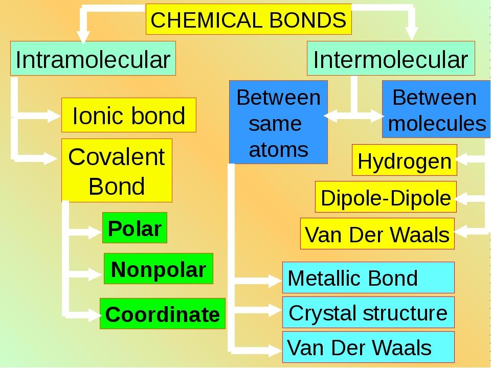 CHEMICAL BONDS Intramolecular Intermolecular Ionic bond Covalent Bond Polar N...