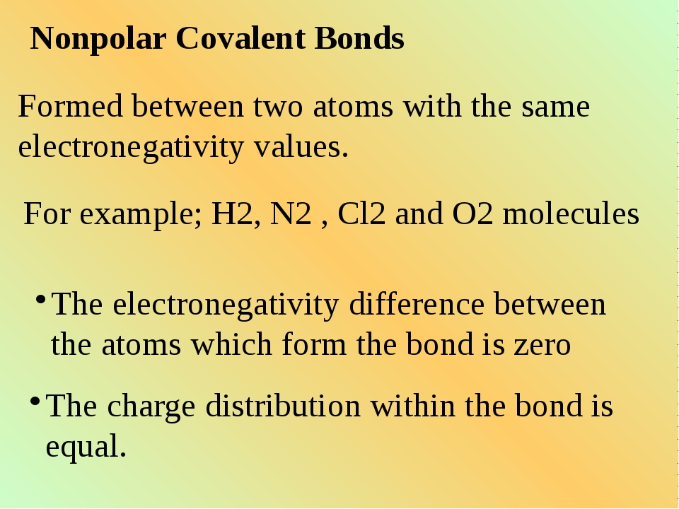 Nonpolar Covalent Bonds Formed between two atoms with the same electronegativ...