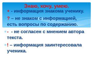 + - информация знакома ученику. ? – не знаком с информацией, есть вопросы по