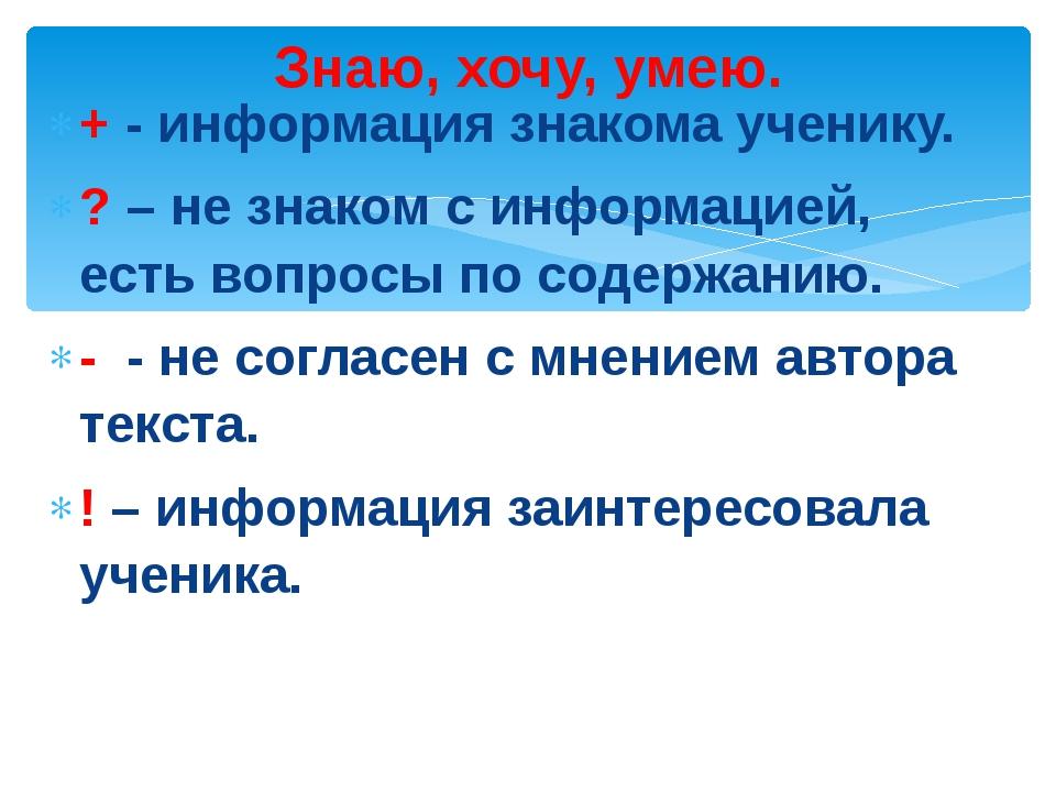 + - информация знакома ученику. ? – не знаком с информацией, есть вопросы по...