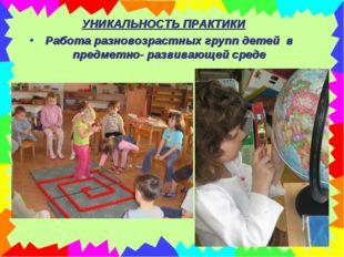 УНИКАЛЬНОСТЬ ПРАКТИКИ Работа разновозрастных групп детей в предметно- развива