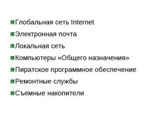 Глобальная сеть Internet Электронная почта Локальная сеть Компьютеры «Общего