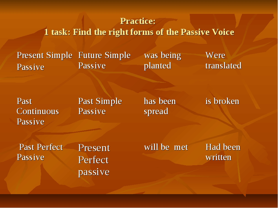 Practice: 1 task: Find the right forms of the Passive Voice