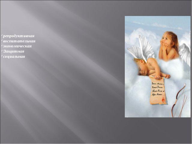 репродуктивная воспитательная экономическая Защитная социальная