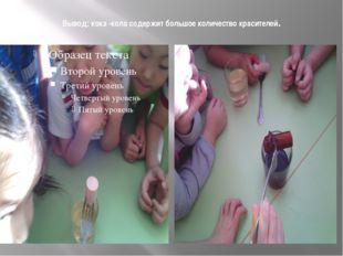 Вывод: кока -кола содержит большое количество красителей.
