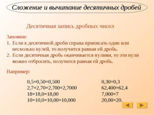 Сложение и вычитание десятичных дробей Десятичная запись дробных чисел Запомн