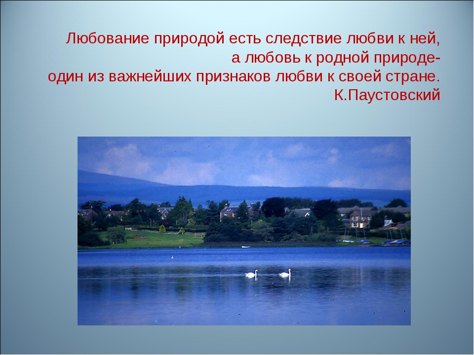 Любование природой есть следствие любви к ней, а любовь к родной природе- оди...