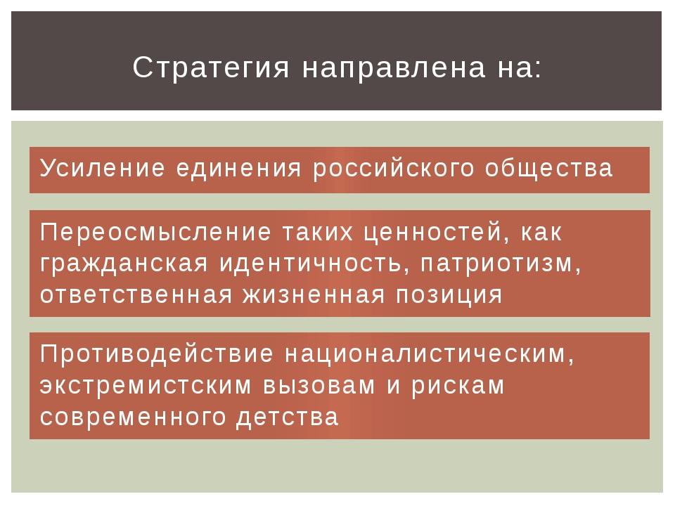 Усиление единения российского общества Стратегия направлена на: Переосмыслени...